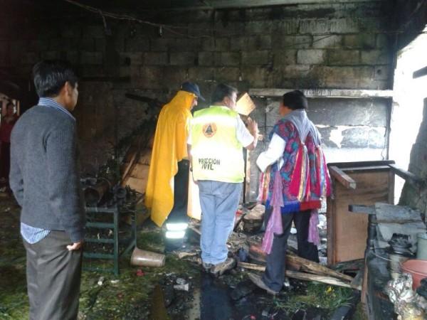 Quedó destruida la vivienda de Mariano de Jesús Pérez Pérez, alcalde tradicional de Zinacantán. Foto: Amalia Avendaño/Chiapas PARALELO
