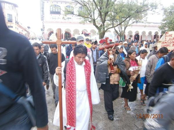 Indígenas informaron que continuarán demandando la libertad de Patishtán. Foto: Carlos Herrera