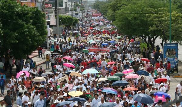 Se espera en la megamarcha del domingo 9, una movilización de más de 60 mil manifestantes. Foto:; Isaín Mandujano/Chiapas PARALELO
