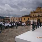 Realizaron un mitín en la plaza central de San Cristóbal de las Casas. Foto: Fredy Martín.