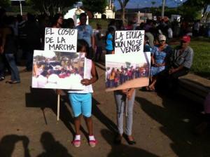 Aspecto de la marcha del martes en el municipio de Ocozocuautla. Foto: Cortesía Chiapas Paralelo