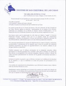 Carta de la Vicaría de Justicia y Paz de la Diócesis de San Cristóbal.