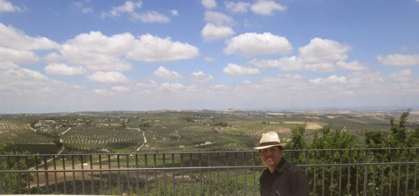 Paisaje vinicola en Montilla, España y el autor.