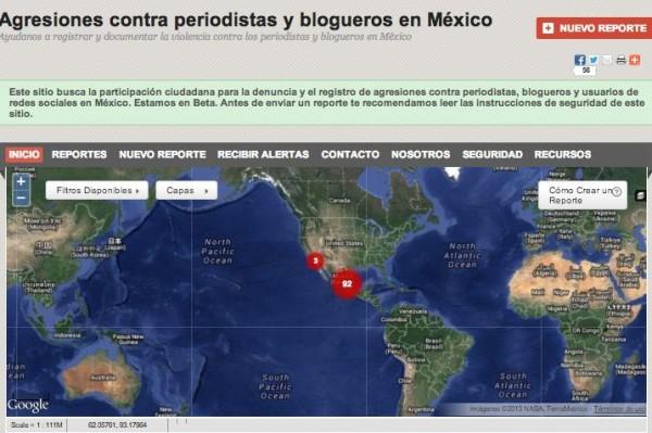El mapa es una herramienta para periodistas y bloggers para informar el crimen y la corrupción.