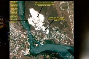Vista satelital de los daños al medio ambiente que ha ocasionado en 50 años la empresa Cales y Morteros del Grijalva.