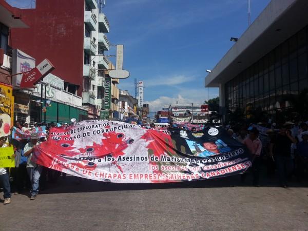 Chiapanecos pidieron se cancelen los permisos de extracción minera en Chiapas. Foto: Benjamín Alfaro