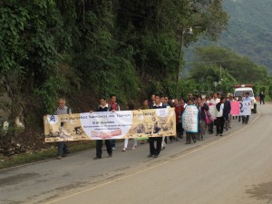 En la marcha participaron estudiantes de Guatemala y de México. Foto: Cortesía/ Chiapas PARALELO.
