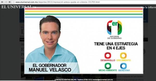 Manuel Velasco en El Universal