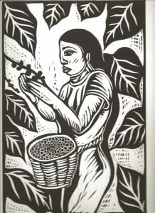 Una de las obras de Enrique Díaz  que representa el mes de enero temporada del corte de café.