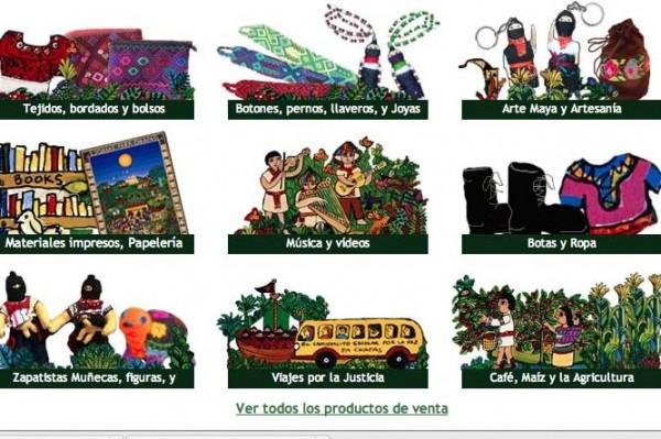 Artesanías que venden las comunidades del EZLN.