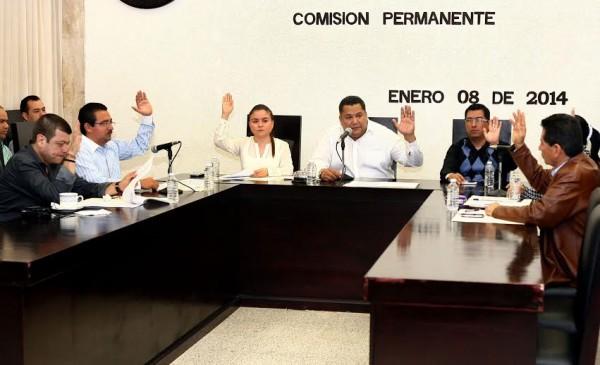 La comisión permanente del Congreso Local en su primera sesión ordinaria. Foto: Cortesía.