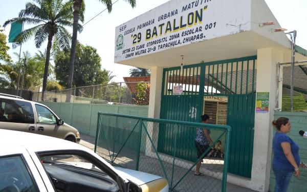 Escuela Primer Batallón en Tapachula. Foto: Cortesía
