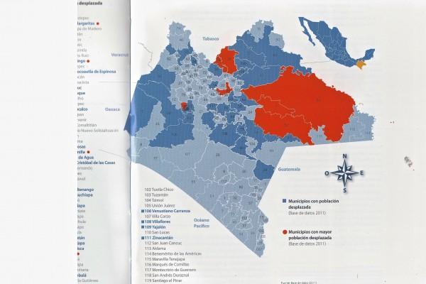 Mapa de desplazados en Chiapas, según PNUD.