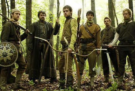 Los personajes de la serie de Robin Hood de la BBC de Londres.