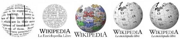 Evolución del logotipo de Wikipedia a lo largo de estos años.