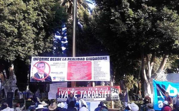 Contra informe Puebla. Foto: LadoB