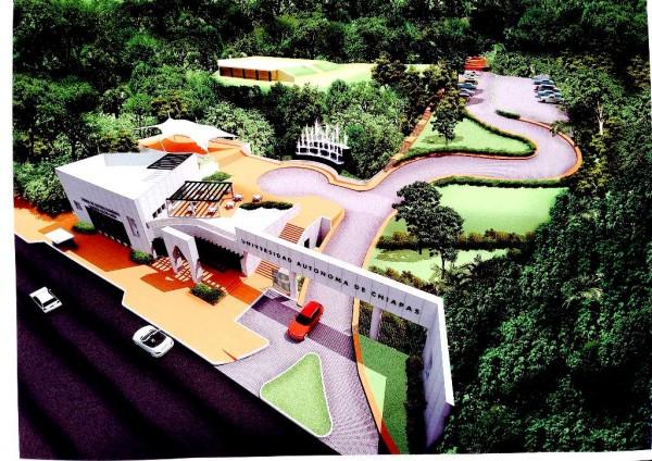 Así será la vista aérea del Centro Cultural Balún Canán en cuyo interior estará la librería José Emilio Pacheco. Foto: Maqueta