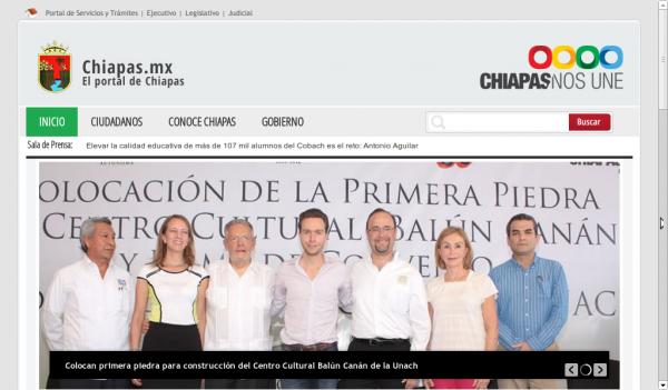 Captura de Pantalla del Portal oficial del Gobierno de Chiapas.