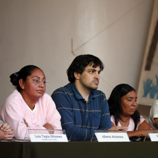 Alberta Alcántara, Daniel Zapico (AI) y Teresa González durante la conferencia de prensa   CIMACFoto: César Martínez López