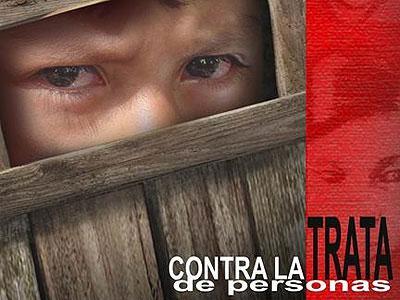 Cartel de una campaña contra la trata de personas.