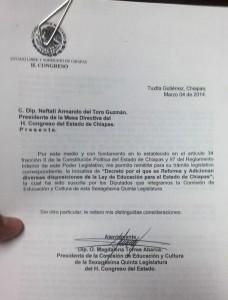 Documento expuesto al pleno del Poder Legislativo del Estado de Chiapas.