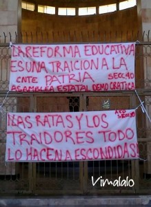 Consignas magisteriales. Foto: Víctor Lara.