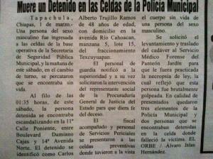 El otro caso de Tapachula el pasado fin de semana.