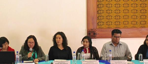 Panelistas en el Foro Regional por los Derechos de la Infancia y la Adolescencia en el Sureste Mexicano. Foto: Melel Xojobal