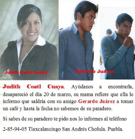 Judith Coatl, desaparecida.