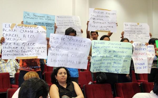 Manifestación contra alcalde Acala. Foto: Sandra de los Santos