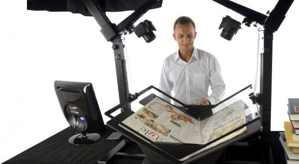 Máquina para la digitalización de libros impresos. Tomado de http://pennyimagingexchange.blogspot.mx/