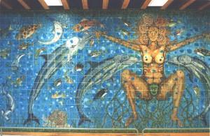 Mural en el Centro Cultural Jaime Sabines, su obra más grande del maestro Disner.
