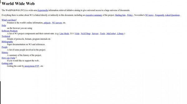 Primera página web publicada por Tim Berners Lee en 1992