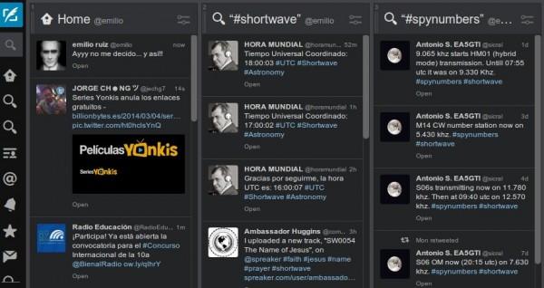 Mi cuenta de Twitter utilizando la aplicación TweetDeck para interactuar
