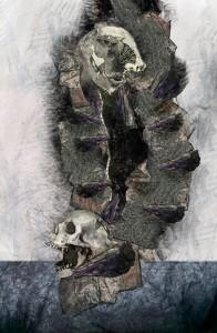 El Doble (DETALLE). Técnica mixta. Acrílico, tinta, grafito y proceso digital. Impresa en lienzo 21.6 x 32.9 cm. 2013. De Manuel Cunjamá