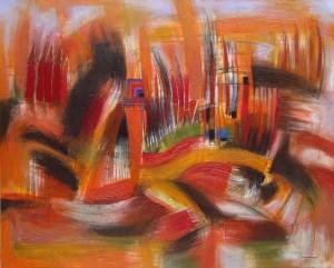"""""""Paisaje rojo"""", mixta sobre tela. 80 x 100 cms. 2013. De Manuel Cunjamá"""