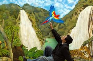 Manuel Cunjama con una de sus obras: Cascadas El Chiflón. Óleo sobre tela. 2014