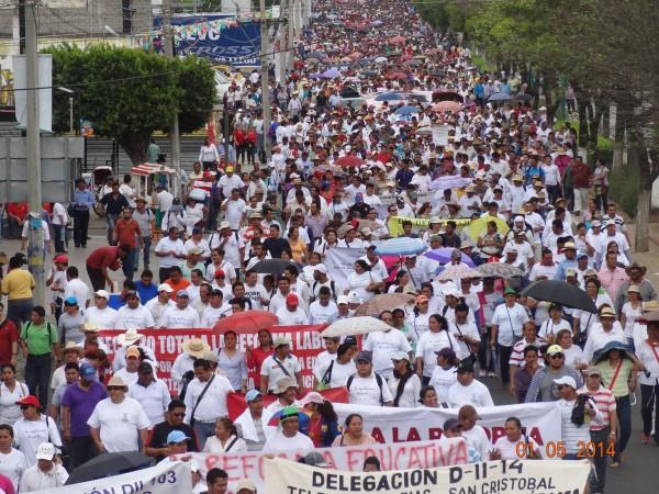 Marcha del 1 de Mayo en Tuxtla Gutiérrez: Día del Trabajo y del Trabajador. Foto: José Luis Escobar.