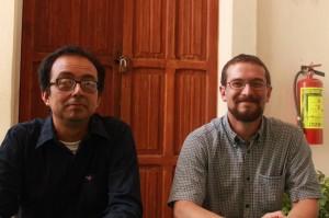 Emilio Ruíz y Raúl Méndoza de la organización civil Germinalia. Foto: César Roblero/ Chiapas PARALELO.