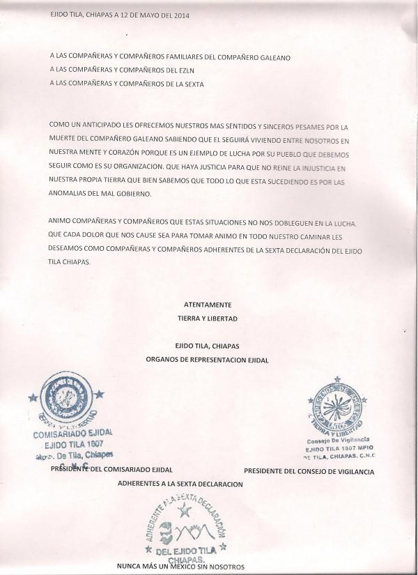EjidoTila carta sobre hechos compañero Galeano