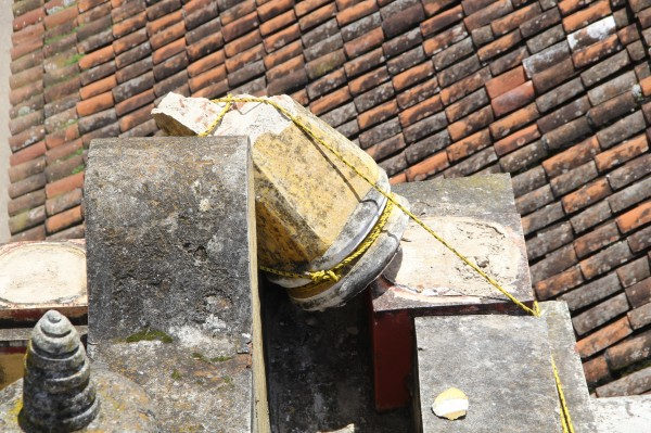Daños a Catedral de San Cristóbal de las Casas. Foto: Elizabeth Ruiz