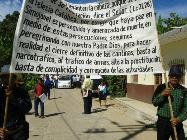 Marcha Simojovel para exigir seguridad y cese a amenazas. Foto: Koman Ille