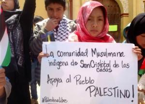 Niña Palestina en la marcha en solidaridad con el pueblo palestino. Foto: Isaín Mandujano