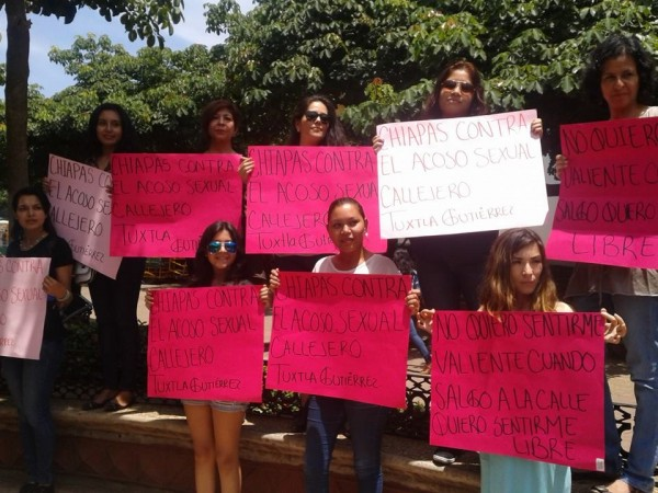 Campaña en contra del acoso sexual en Tuxtla. Foto: Cortesía.
