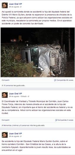 Comentarios en facebook del periodista Juan Orel. Mismo que diputado Mario Guillén exigió, mediante amenazas, quitar.