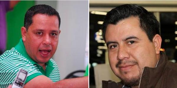 A la izquierda diputado federal del PVEM, Mario Guillén Guillén. A la derecha periodista de Chiapas, Juan Orel, quien trabaja en el municipio de Comitán, ubicado en la frontera con Guatemala.