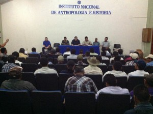 Reunión en Palenque, del Comisionado Martínez Veloz, y representantes de la CZL. Foto: Chiapas PARALELO
