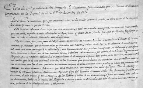 Acta de independencia del Imperio Mexicano, 28 de septiembre, 1821