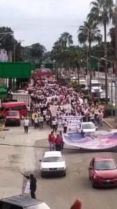 En Tapachula, la marcha de maestros, estudiantes , campesinos y amas de casa también congregó a miles de personas.