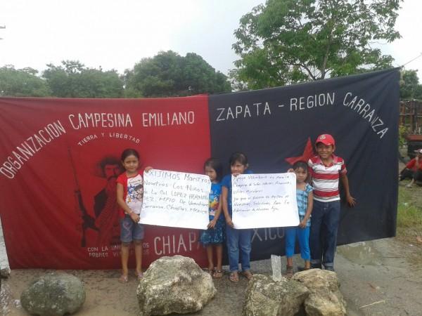 Manifestación de niños campesinos en Carranza. Foto: Cortesía